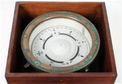 COMPASS AND BAROMETER US Navy brass boxed ships