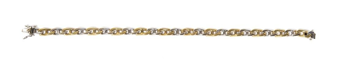 "GOLD BRACELET 18K white and yellow gold bracelet, 7"" l,"