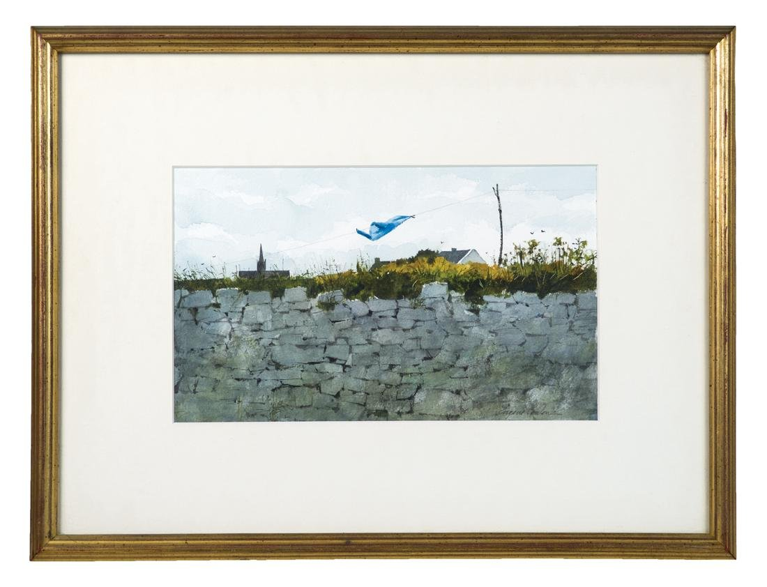 LANDSCAPE WATERCOLOR Stone wall with a blue shirt,
