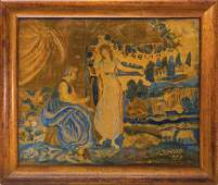 19TH C. SCHOOL GIRL WATERCOLOR THEOREM Painting on