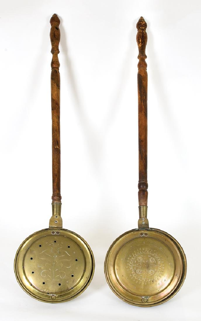 TWO 18TH C. NEW ENGLAND BEDWARMERS Brass and maple,