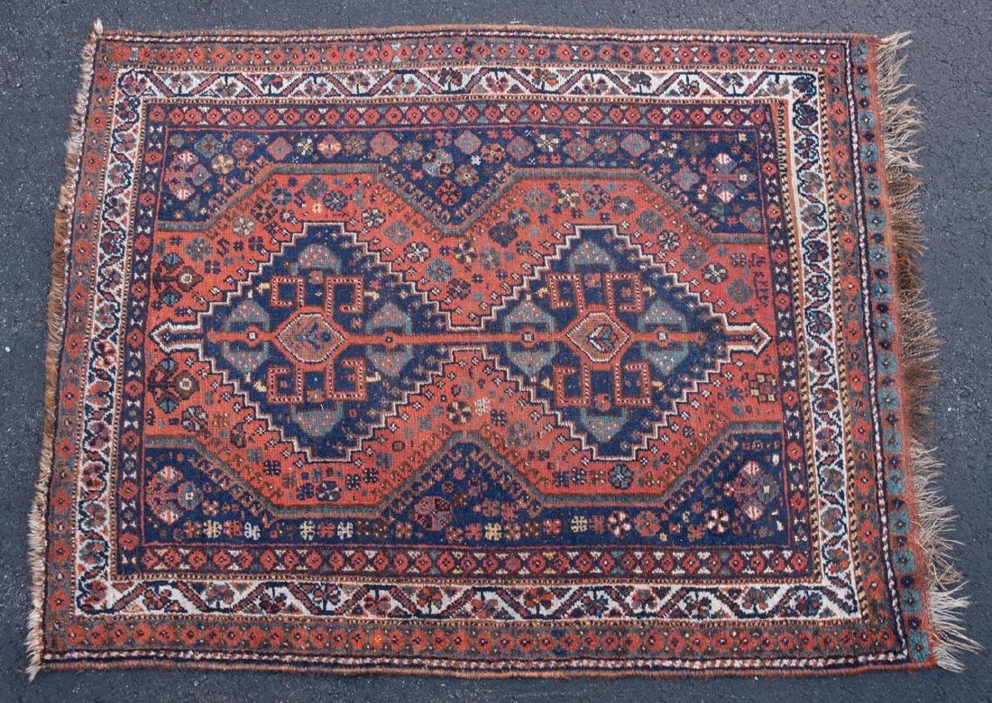 PERSIAN SHIRAZ RUG Small area rug, c. 1930, rust and