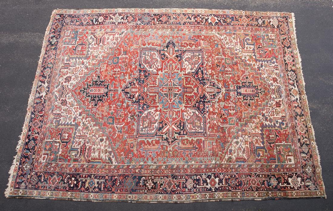 ROOMSIZE PERSIAN HERIZ RUG Rust, navy and ivory, c.