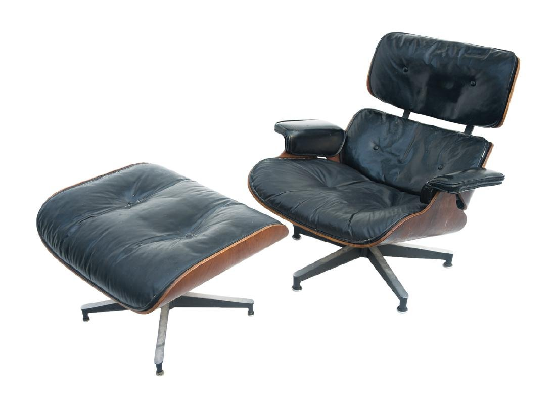 EAMES LOUNGE CHAIR AND OTTOMAN By Herman Miller,