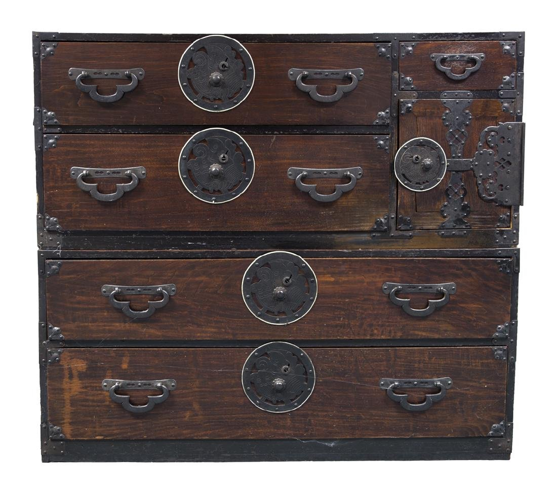 19TH C. JAPANESE TWO-PART TONSU CHEST Decorated iron