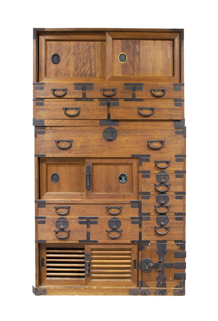 JAPANESE TWO-PART TONSU CHEST Sliding doors at top over