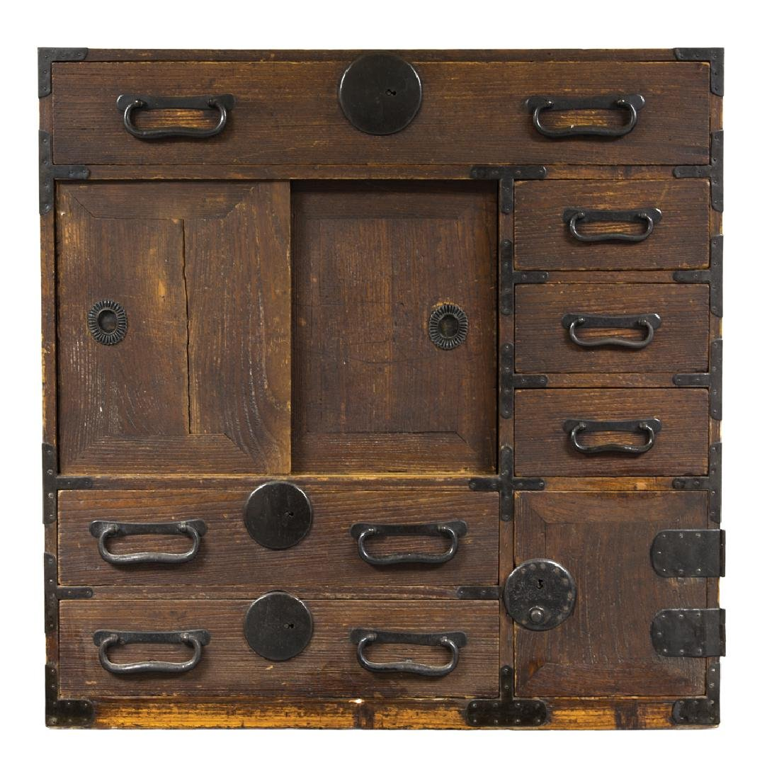 EARLY 19TH C. JAPANESE TONSU Iron board, six drawers