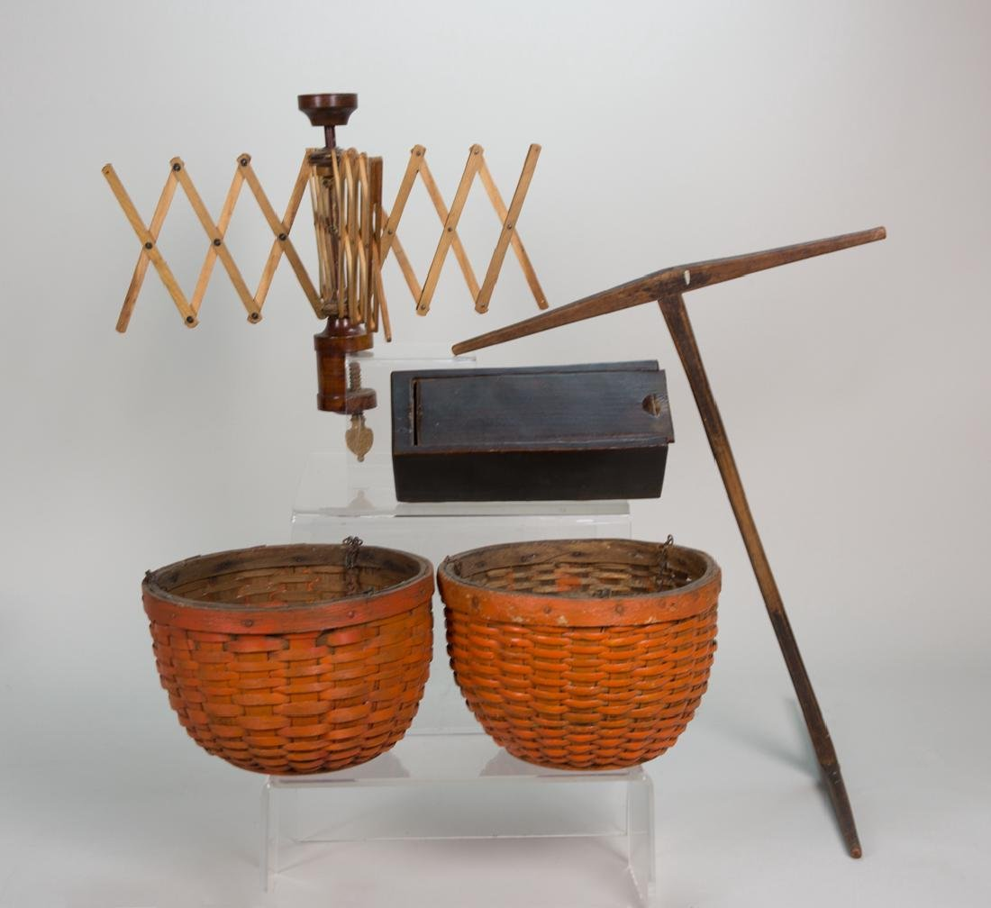 FIVE COUNTRY PIECES Two early baskets with solid wood