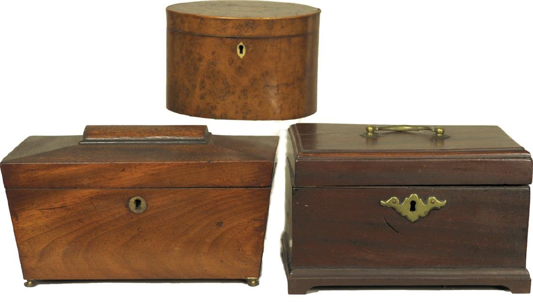 COLLECTION OF FOUR TEA CADDIE'S Four 18th and 19th c.