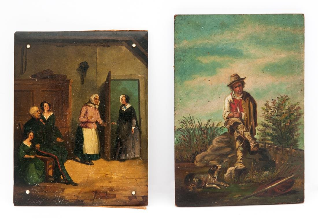 TWO 19TH C. OILS Oil on panel, family receiving a guest