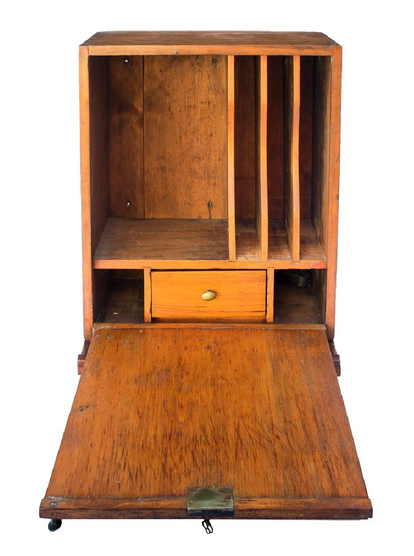 19TH C. HANGING FALL FRONT DESK BOX Pine, with vertical - 2