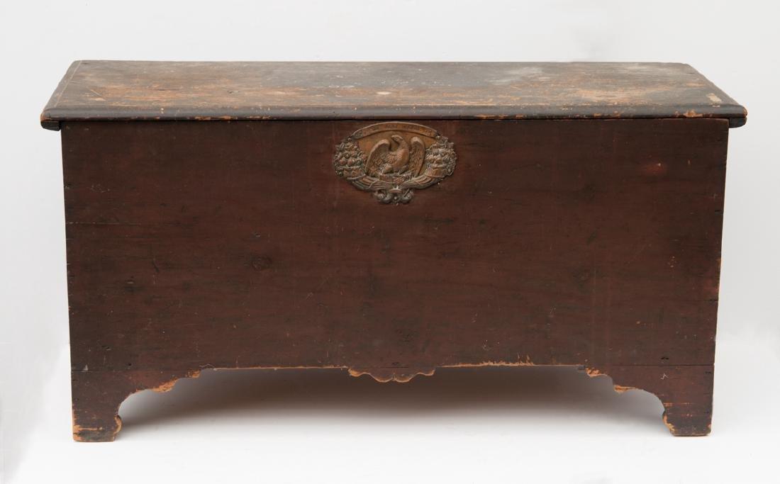 18TH C. SIX BOARD BLANKET BOX Pine, original Spanish
