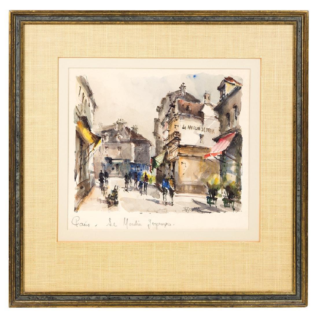 "PARISIAN STREET SCENES Two watercolors: ""Place du"