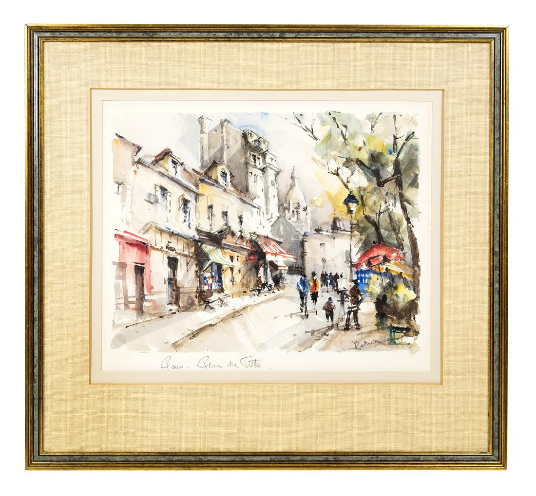 "PARISIAN STREET SCENES Two watercolors: ""Place du - 2"
