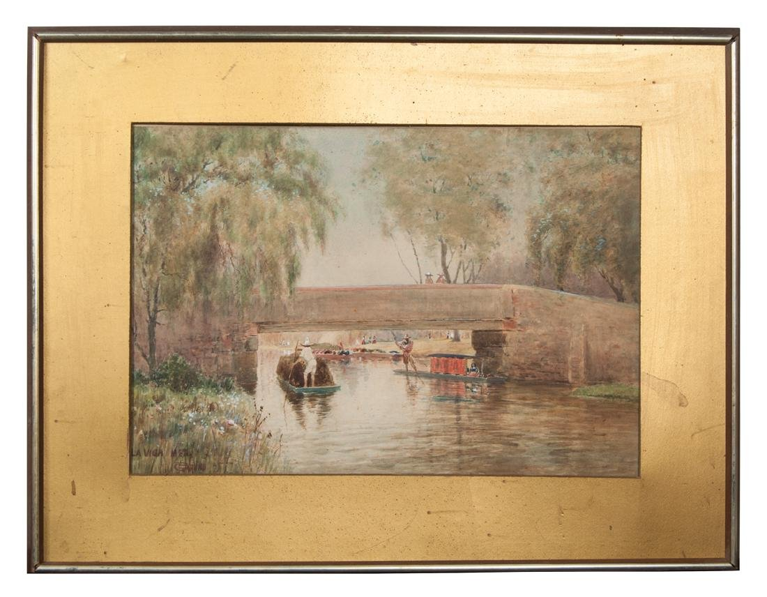 ANTIQUE FRAMED LANDSCAPE WATERCOLOR River scene of