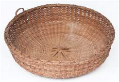 EARLY 19TH C. NEW ENGLAND BASKET Round, double wrapped