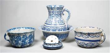 "SEVEN ANTIQUE BLUE SPONGEWARE PIECES Bowl (13"" dia) and"