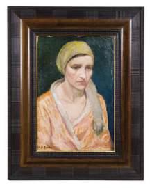 OIL ON CANVAS BY WALT KUHN Portrait of woman in a pink