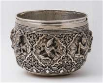 ASIAN SILVER BOWL Exceptional southeast Asian silver