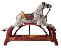 EARLY 20TH C. ROCKING HORSE Carved wood, original