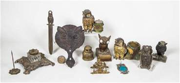 COLLECTION OF 19TH AND 20TH C. METAL OWLS Paperweights,