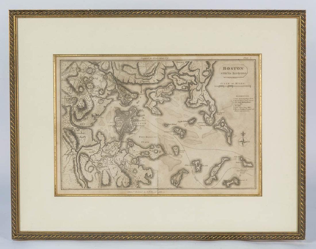 "FRAMED MAP OF BOSTON HARBOR ""Boston with its Environs"","