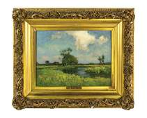 19TH C. OIL BY J. NOBLE BARLOW Oil on canvas of summer