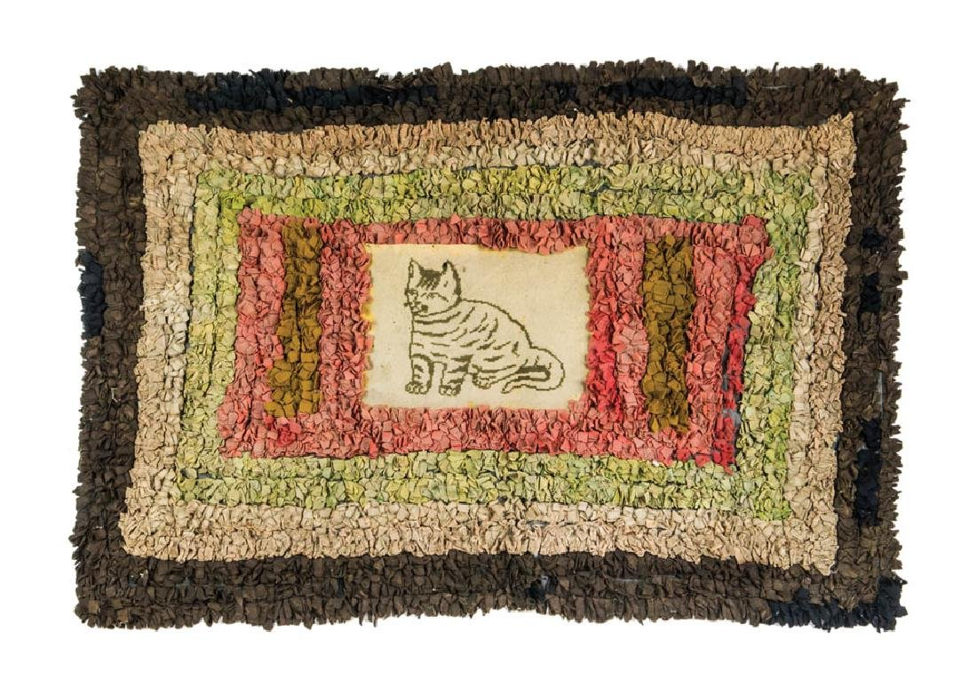 SHAG RUG WITH CAT Unusual early rug, central