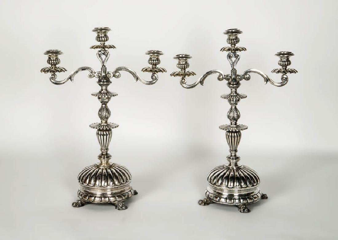 STERLING SILVER CANDELABRAS Pair of three-branch
