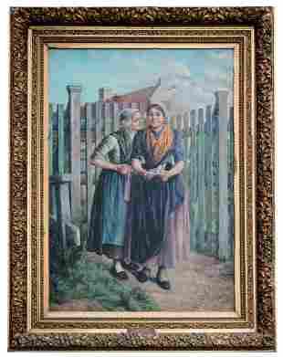 PAINTING BY E VAN CAUWELAERT Oil on canvas E Van