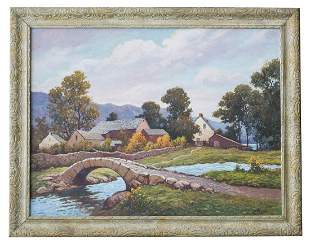 EARLY 20TH C LANDSCAPE OIL Oil on canvas Abraham