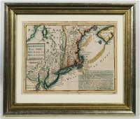 FRAMED AND MATTED MAP Map of New England, New York, New