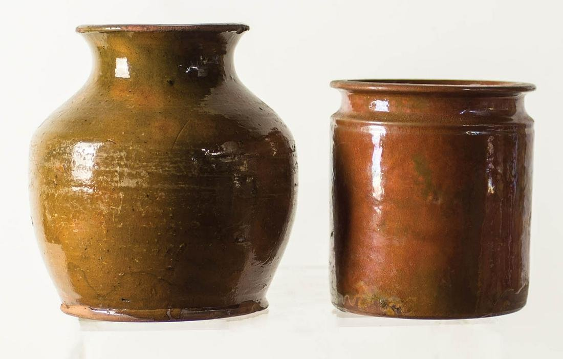 REDWARE POTTERY CONTAINERS Two early redware