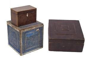 TWO 19TH C TEA BOXES AND STORAGE BOX Tea box with