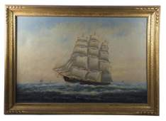 EARLY 20TH C SHIP PORTRAIT Oil on canvas threemasted