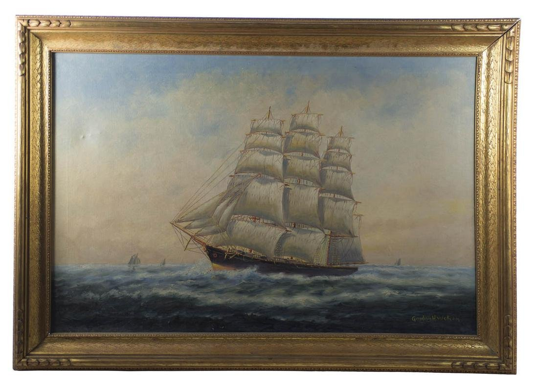 EARLY 20TH C. SHIP PORTRAIT Oil on canvas, three-masted