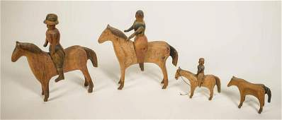 FOLK ART CARVED HORSES AND RIDERS Four small carved