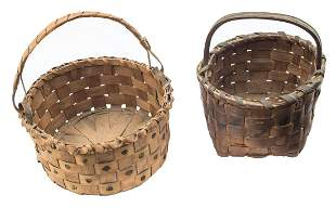 TWO SMALL 19TH C GATHERING BASKETS Wrapped swing