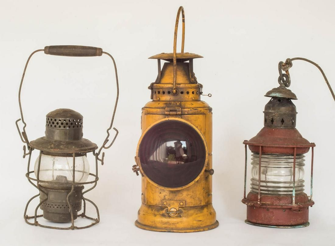 THREE LANTERNS Railroad lantern with red lens and