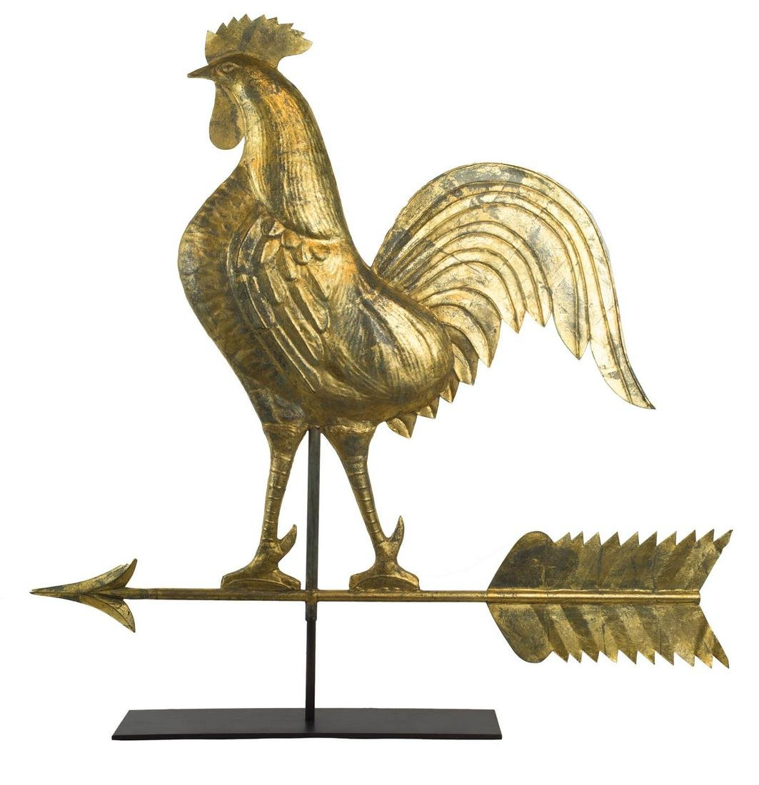 EXCEPTIONALLY LARGE ROOSTER WEATHERVANE American, late
