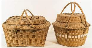 DOUBLE SWING HANDLED BASKETS Two 20th c Penobscot