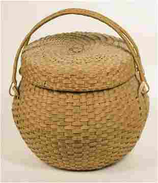 MAINE INDIAN BASKET Ovoid shaped possibly Penobscot