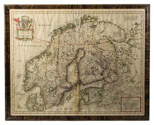 FRAMED MAP Suecia et Norvegiae hand colored Hugo