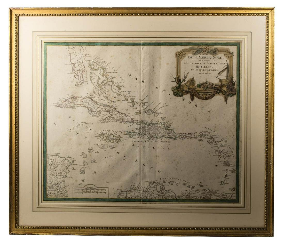 FRAMED MAP Hand colored, showing southern Florida,