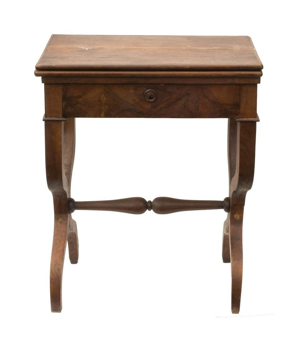 19TH C. SWIVEL TOP CARD STAND Mahogany and rosewood,