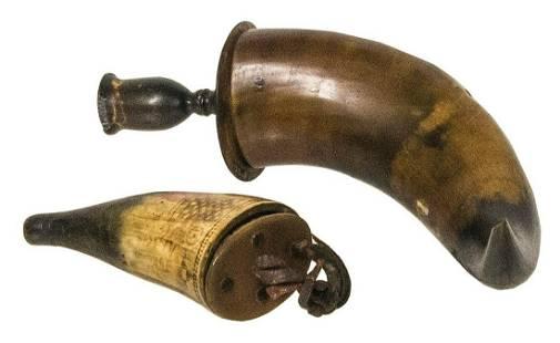 HORN CANDLESTICK AND HORN SNUFF BOXPowder horn