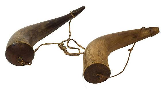 TWO POWDER HORNSAn 11 14 l horn and an 11 12 l