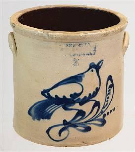 "19TH C. STONEWARE CROCKThree-gallon crock, ""New York"