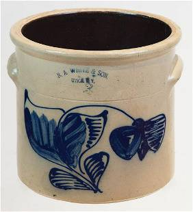 "19TH C. STONEWARE CROCKThree-gallon crock, ""NA White &"