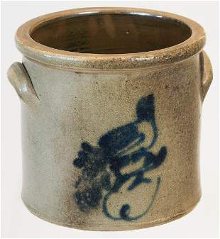 19TH C. STONEWARE CROCKOne-gallon crock, with decorated